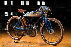 Tony Prust's 1950 Ducati Cucciollo engine in a pre-war Iver Johnson bicycle frame  at the Mama Tried Show. Milwaukee, WI. USA. Friday February 23, 2018. Photography ©2018 Michael Lichter.