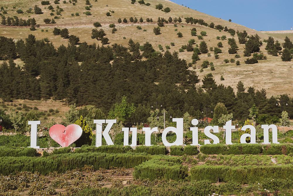 I love Kurdistan is spelled out on a hillside on the outskirts of Sulaymaniyah, a predominately Kuridsh city in northern Iraq. (May 2017)