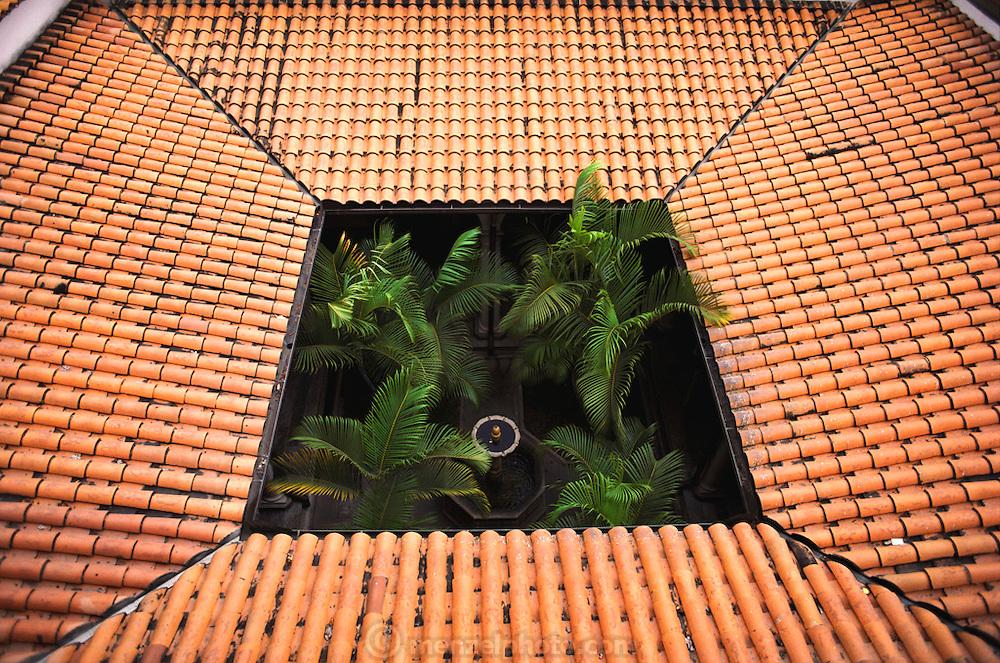 The courtyard of Simon Bolivar's birthplace tile-roofed home in Caracas, Venezuela.