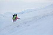 Michelle Blade skis up against the wind in Foxdalen, Svalbard.