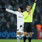 Referee's Kuddusi MUFTUOGLU (R) during their Turkish superleague soccer match Trabzonspor between Kasimpasaspor at the Kocaeli Ismetpasa Stadium in Izmit Turkey on Saturday, 12 March 2011. Photo by TURKPIX