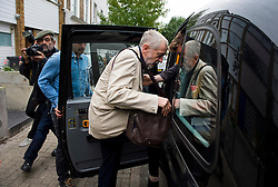 © Licensed to London News Pictures. 13/09/2015. London, UK. New leader of the Labour Party, JEREMY CORBYN getting in to a cab as he leaves his home in Islington, north London, a day after he won the party vote to become the new leader. Photo credit: Ben Cawthra/LNP