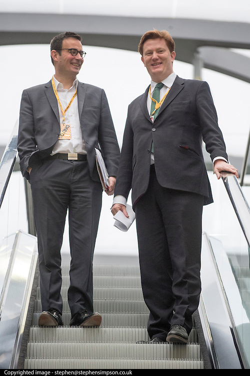 © Licensed to London News Pictures. 14/03/2015. Liverpool, UK. Danny Alexander (right) after his rehearsal for his conference speech.  The Liberal Democrat Spring Conference in Liverpool 14th March 2015. Photo credit : Stephen Simpson/LNP