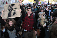 50,000 students protesting against the increase in university fees, and spending cuts was marred by violence at the Tory Party HQ on Millbank Tower London, UK, 10/11/2010