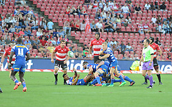 070418 Emirates Airlines Park, Ellis Park, Johannesburg, South Africa. Super Rugby. Lions vs Stormers. Nizaam Carr clears the ball from a loose scrum.<br />Picture: Karen Sandison/African News Agency (ANA)