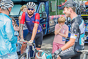 Mark Cavendish and Bradley Wiggins chat before the start in Horse Guards Parade - Prudential RideLondon a festival of cycling, with more than 95,000 cyclists, including some of the world's top professionals, participating in five separate events over the weekend of 1-2 August.