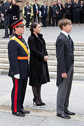 Prince Sebastien of Luxembourg, Princess Alexandra of Luxembourg and Prince Louis of Luxembourg get out the cathedral Notre-Dame after the funeral of Grand Duke Jean of Luxembourg on May 4, 2019 in Luxembourg City, Luxembourg.<br /> Grand Duke Jean of Luxembourg has died at 98, April 23, 2019.<br /> (Photo by David Niviere/ABACAPRESS.COM)