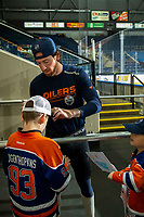 KELOWNA, BC - SEPTEMBER 23: James Neal #18 of the Edmonton Oilers signs autographs prior to practice at Prospera Place on September 23, 2019 in Kelowna, Canada. (Photo by Marissa Baecker/Shoot the Breeze)