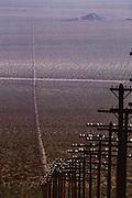 Barstow, California telephone and power lines across the desert.