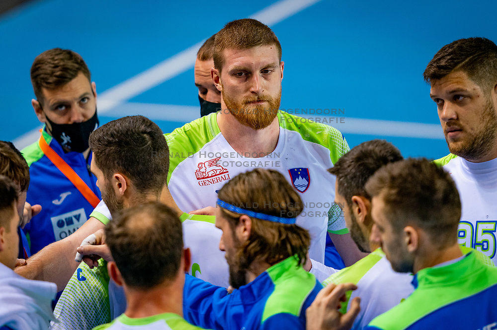 The Slovenian handball player Blaz Blagotinsek listen during time out against Netherlands during the European Championship qualifying match on January 6, 2020 in Topsportcentrum Almere