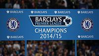 Football - 2014 / 2015 Premier League - Chelsea vs. Sunderland.   <br /> <br /> Barclay's Premier League platform headboard with the Chelsea badge displayed at Stamford Bridge. <br /> <br /> COLORSPORT/DANIEL BEARHAM