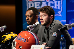 The Michigan Wolverines speak with the media during a press conference on December 27, 2018, in Atlanta. Michigan will face Florida in the 2018 Chick-fil-A Peach Bowl NCAA football game on December 29, 2018. (Paul Abell via Abell Images for the Chick-fil-A Peach Bowl)