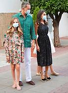 King Felipe VI of Spain, Queen Letizia of Spain, Crown Princess Leonor, Princess Sofia arrive to National Inn on July 22, 2020 in Merida, Spain