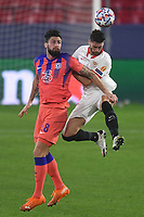 SEVILLE, SPAIN - DECEMBER 02: Sergi Gomez of FC Sevilla and Olivier Giroud of Chelsea FC during the UEFA Champions League Group E stage match between FC Sevilla and Chelsea FC at Estadio Ramon Sanchez-Pizjuan on December 2, 2020 in Seville, Spain. (Photo by Juan Jose Ubeda/MB Media)