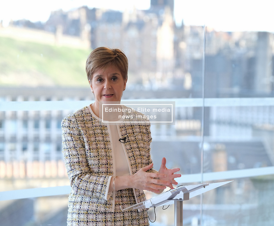 Scottish Visa Plan, 27 January 2020<br /> <br /> The First Minister was in Edinburgh today to unveil immigration policy proposals for a new Scottish Visa aimed at addressing depopulation and cutting skills gaps.<br /> <br /> All of Scotland's population growth for the next 25 years is projected to come from migration, in contrast to the rest of the UK.<br /> <br /> New UK Government immigration controls and the end of free movement after Brexit is expected to exacerbate the risk of skills gaps and labour shortages in Scotland.<br /> <br /> Pictured: First Minister Nicola Sturgeon <br /> <br /> Alex Todd   Edinburgh Elite media