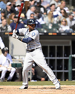 CHICAGO - APRIL 06:  Tim Beckham #1 of the Seattle Mariners bats against the Chicago White Sox on April 6, 2019 at Guaranteed Rate Field in Chicago, Illinois.  (Photo by Ron Vesely)  Subject:  Tim Beckham
