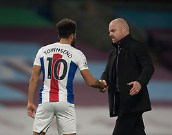 Andros Townsend of Crystal Palace (L) and Burnley manager Sean Dyche at the final whistle - Mandatory by-line: Jack Phillips/JMP - 23/11/2020 - FOOTBALL - Turf Moor - Burnley, England - Burnley v Crystal Palace - English Premier League