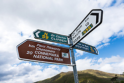 Direction signs in Leenaun, County Galway, Ireland