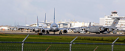View of commercial planes in line to take off and a U.S Air Force plane at the Luis Marin Muñoz airport in San Juan as the airport's conditions improves after Hurricane Maria, (category 4) passed through Puerto Rico devastating the island leaving residents without power on Sept 20. on October 02, 2017. Photo by Pedro Portal/Miami Herald/TNS/ABACAPRESS.COM