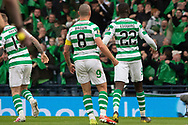 GOAL - Odsonne Edouard & Captain Scott Brown celebrate their equalising goal during the William Hill Scottish Cup Final match between Heart of Midlothian and Celtic at Hampden Park, Glasgow, United Kingdom on 25 May 2019.