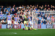 Reading midfielder Danny Williams (23) goes down from a tackle by Queens Park Rangers defender Joel Lynch (6) during the EFL Sky Bet Championship match between Queens Park Rangers and Reading at the Loftus Road Stadium, London, England on 15 October 2016. Photo by Jon Bromley.