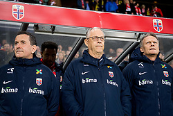 March 26, 2019 - Oslo, NORWAY - 190326 Per Joar Hansen, assistant coach of Norway, Lars Lagerbäck, head coach of Norway, and Frode GrodÃ¥s, goalkeeper coach of Norway, ahead of the UEFA Euro qualifier football match between Norway and Sweden on March 26, 2019 in Oslo..Photo: Jon Olav Nesvold / BILDBYRÃ…N / kod JE / 160435 (Credit Image: © Jon Olav Nesvold/Bildbyran via ZUMA Press)