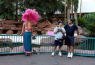 Las Vegas tourists and showgirl