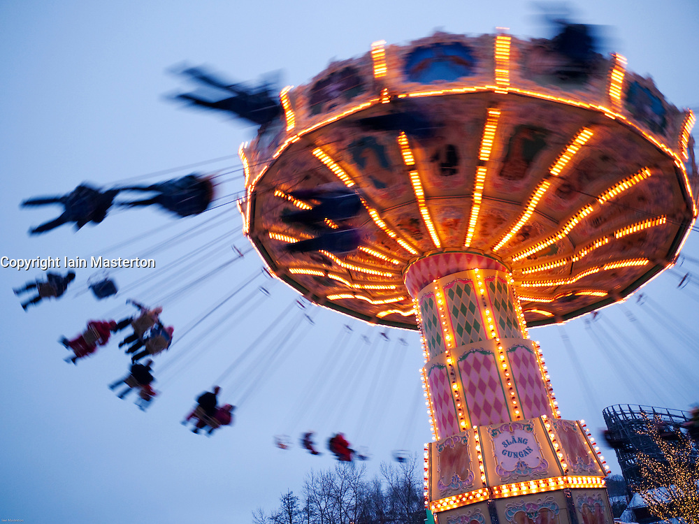 Funfair ride at Christmas market in Liseberg amusement park in Gothenburg Sweden