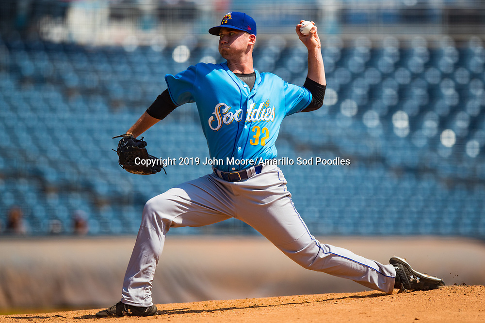 Amarillo Sod Poodles pitcher Aaron Leasher (32) pitches against the Tulsa Drillers during the Texas League Championship on Sunday, Sept. 15, 2019, at OneOK Field in Tulsa, Oklahoma. [Photo by John Moore/Amarillo Sod Poodles]