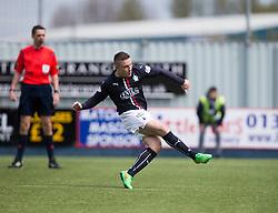 Falkirk's John Baird misses the penalty.  <br /> half time : Falkirk 0 v 0 Morton, Scottish Championship game  played 1/5/2016 at The Falkirk Stadium.
