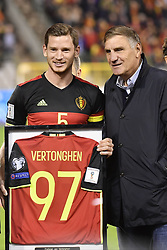 October 10, 2017 - Brussels, BELGIUM - Belgium's captain Jan Vertonghen and Jan Ceulemans pictured as Ceulemans hands over the shirt of the number of selection, 97 for Vertonghen, new Belgian record, 97, ahead of a soccer game between Belgian national team Red Devils and Cyprus, in Brussels, Tuesday 10 October 2017, game 9 in Group H of the qualifications for the 2018 World Cup. BELGA PHOTO DIRK WAEM (Credit Image: © Dirk Waem/Belga via ZUMA Press)