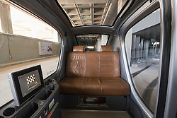 Inside a Personal Rapid Transport (PRT) car at Institute of Science and Technology at Masdar City in Abu Dhabi United Arab Emirates