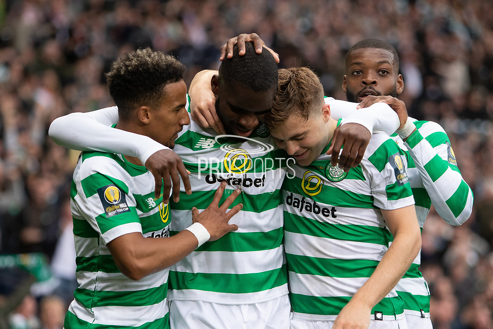 Odsonne Edouard congratulated by Scott Sinclair & James Forrest during the William Hill Scottish Cup Final match between Heart of Midlothian and Celtic at Hampden Park, Glasgow, United Kingdom on 25 May 2019.