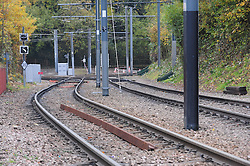 © Licensed to London News Pictures. 15/11/2016<br /> Empty rail tracks near the scene of a tram derailment at Sandilands Station in Croydon. Tomorrow marks one week since the crash in which seven people were killed and more than 50 people were injured when the carriages flipped over. Photo credit :Grant Falvey/LNP
