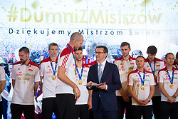 October 1, 2018 - Warsaw, Poland - Bartosz Kurek and Prime Minister of Poland Mateusz Morawiecki during the meeting with Poland men's national volleyball team at Chancellery of the Prime Minister in Warsaw, Poland on 1 October 2018. Poland won the gold medal after defeating Brazil in FIVB Volleyball Men's World Championship Final in Turin on 30 September. (Credit Image: © Mateusz Wlodarczyk/NurPhoto/ZUMA Press)