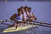 Barcelona, SPAIN. GBR M4-,  Bow, Salih HASSAN,.John GARRETT,   Gavin STEWART, Richard STANHOPE, 1992 Olympic Rowing Regatta Lake Banyoles, Catalonia [Mandatory Credit Peter Spurrier/ Intersport Images]