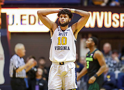 Jan 21, 2019; Morgantown, WV, USA; West Virginia Mountaineers guard Jermaine Haley (10) reacts to a call during the first half against the Baylor Bears at WVU Coliseum. Mandatory Credit: Ben Queen-USA TODAY Sports