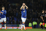 Gareth Barry of Everton  claps to the crowd after the final whistle. Capital one cup semi final 1st leg match, Everton v Manchester city at Goodison Park in Liverpool on Wednesday 6th January 2016.<br /> pic by Chris Stading, Andrew Orchard sports photography.