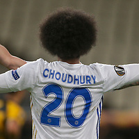 ATHENS, GREECE - OCTOBER 29: Hamza Choudhuryof Leicester City celebrates his own goal, second for his team, during the UEFA Europa League Group G stage match between AEK Athens and Leicester City at Athens Olympic Stadium on October 29, 2020 in Athens, Greece.(Photo by MB Media)
