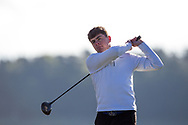 Sean Carroll (Castle Dargan) on the 2nd tee during Round 2 of the Ulster Boys Championship at Donegal Golf Club, Murvagh, Donegal, Co Donegal on Thursday 25th April 2019.<br /> Picture:  Thos Caffrey / www.golffile.ie
