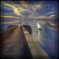 Artwork of a blond angel ghosted and hallowed in white lifting up, ascending from a platform in the water reflecting a sunset. To the left is a stone pier with a gate and a cross at the end where to the sides are stairs descending.