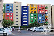 Israel, Jezreel Valley, Afula Colourful buildings