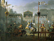 A  Tournament in the XIVth century'. Knights jousting. Paul Henri Revoil (1776-1842) French painter and dramatist. Oil on canvas.