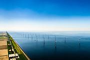 Nederland, Flevoland, Noordoostpolder, 07-05-2018; Westermeerdijk, ten noorden van Urk. Het grootste windmolenpark van Nederland, Windpark Noordoostpolder. De mega windmolens zijn zowel op land als in het IJsselmeer gebouwd. Het windmolenpark van de Koepel Windenergie Noordoostpolder is een initiatief van NOP Agrowind, energiebedrijf RWE/Essent en Westermeerwind. <br /> The largest wind farm in the Netherlands, Wind farm Northeast Polder. On land and offshore in IJsselmeer.<br /> luchtfoto (toeslag op standard tarieven);<br /> aerial photo (additional fee required);<br /> copyright foto/photo Siebe Swart