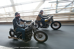 """Nick Toscano beside """"Sushi"""" Atsushi Yasui on a ride around Tokyo with friends of the Freewheelers And Company shop. Tokyo, Japan. December 8, 2015.  Photography ©2015 Michael Lichter."""