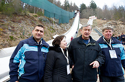 Jure Zerjav, mayor of Kranjska Gora, Barbara Turk, wife of Danilo Turk, president of Slovenia and Drago Bahun during Flying Hill Individual competition at 4th day of FIS Ski Jumping World Cup Finals Planica 2012, on March 18, 2012, Planica, Slovenia. (Photo by Vid Ponikvar / Sportida.com)