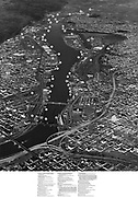 """Ackroyd 16463. """"Commission of Public Docks. Harbor aerial. December 1, 1969"""" (Directory of business and industrial sites in Portland Harbor)"""