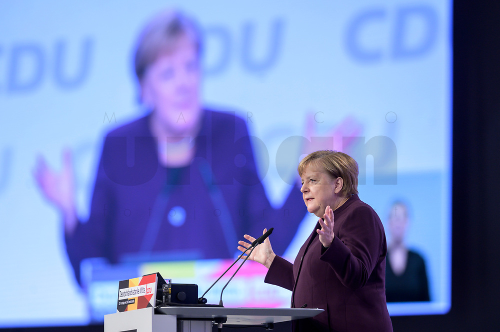 22 NOV 2019, LEIPZIG/GERMANY:<br /> Angela Merkel, CDU, Bundeskanzlerin, haelt eine Rede, CDU Bundesparteitag, CCL Leipzig<br /> IMAGE: 20191122-01-058<br /> KEYWORDS: Parteitag, party congress
