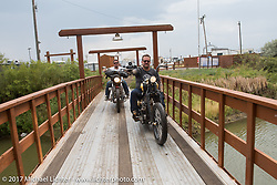 Bobby Seeger and Aaron Greene on Aidan's Ride to raise money for the Aiden Jack Seeger nonprofit foundation to help raise awareness and find a cure for ALD (Adrenoleukodystrophy) arrive at the Buffalo Chip during the annual Sturgis Black Hills Motorcycle Rally. Riding the cut-off Fort Meade Way between I-90 and the Buffalo Chip, SD, USA. Tuesday August 8, 2017. Photography ©2017 Michael Lichter.