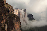 The huge rock wall at the edge of Mount Roraima, a vast flat topped mountain in Canaima Naitonal Park, Venezuela
